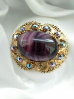 Vintage Signed Gold Tone Banded Amethyst Glass Brooch Pin In Need Of Repair