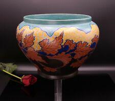 großer Keramik Übertopf - GOUDA HOLLAND - orig. um 1920 - cachepot Blätter Dekor