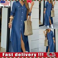 Womens Ladies Summer Button Long Denim Dress Holiday Casual Jeans Maxi Sundress