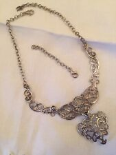 Carolyn Pollack Relios Sterling Filigree Link Necklace With Pendant Drop & Extdr