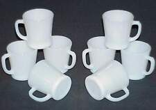 EIGHT (8) FIRE-KING WHITE W1212 D-HANDLE MUGS - CUPS c.1960 EXC to NM