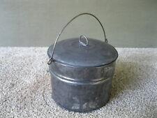 Antique Berry Bucket Tin Vintage Primitive Lunch Pail, Lid, Bail Handle