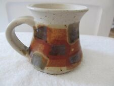 Kula Stoneware Handmade Pottery Geometric Fall Color Coffee Mug Cup Signed