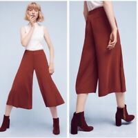 NWT Anthropologie the Essential Culotte Rust Copper Cropped Wide Legs Pants 12