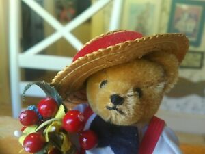 1990s Mohair Hermann Original Teddy Bear dressed with stand Germany EUC 5in