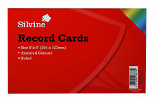 "100 x ASSORTED Colours Record Cards Ruled Both Sides Size 8"" x 5"""