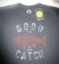 LIFE IS GOOD NEW Fish Fishing Good Catch Black Mens SS TShirt NWT Size M Medium