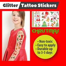 Christmas Temporary Glitter Tattoos Stickers Party Bags Stocking Filler Gift Fun