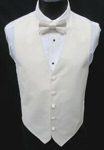 Men's Ivory Satin Fullback Tuxedo Vest & Tie Off-White Cream Wedding Prom Mason