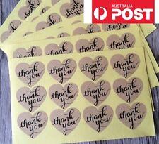 60 Thank You Love Heart Rustic Stickers Wedding Engagement Favour Bombonier DIY