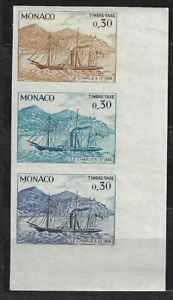 MONACO T57 COLOR PROOF STRIP OF 3 WITH GLUE  imperforated