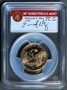 NQC Mint Error 2009 $1 Native American w/ Moy Sign., Missing Edge Lettering MS65