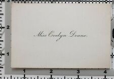 Antique Calling Card Miss Evelyn Deane