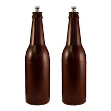 "Chef Specialties 9.5"" Hardwood Beer Bottle Salt & Pepper Mill / Grinder Set"
