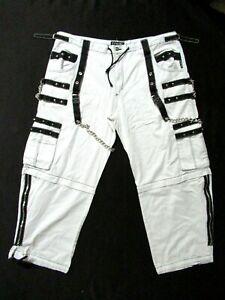 Tripp NYC Pants Black white Rave Tiktok Baggy convertible/shorts size 3X chains