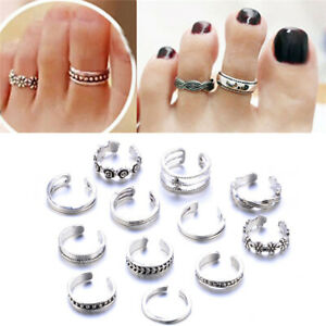 12pcs/Set Retro Simple Fashion Carved Adjustable Toe Ring Foot Jewelry For Girl