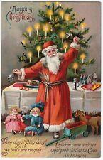 SUPER - Santa Claus GEL Postcard - Germany Tree Bells Toys Christmas 1912 German