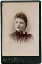 LADY WITH PIERCING EYS   CUPID AT THE CAMERA ON BACK JOHNSTOWN, PA, CABINET CARD