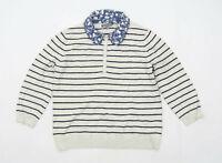 Laura Ashley Womens Size 14 Striped Cotton Blend Grey Jumper (Regular)