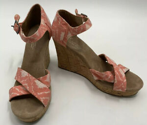 Toms Sandals Cork Wedges Coral Pink Womens Size 9 W