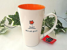 Giant Latte Coffee Mug IT'S ALL GOOD White Orange Flower Gift 30 ounce NWT