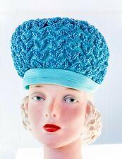 VTG Womens HAT Dana ORIGINAL Pillbox 1950s Church Turquoise Blue Straw Unique