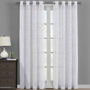 Brook Embroidered Sheer Curtain Set Window Grommet Top  2 Panels Beige Or White