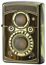 Zippo Antique DLR Camera Wood Inlay Oxidized Brass Both Side Etching Japan F/S