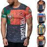 World Cup Fans Men's Muscle 3D Print Short Sleeve T-Shirt Casual Tops Tee S-4XL