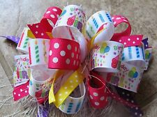 Birthday Girl Balloons Candles Dots Boutique Hairbow with or w/out Feather
