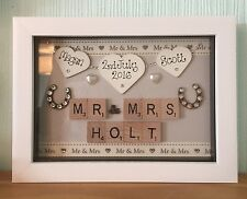 WEDDING DAY BOXED FRAME SCRABBLE LETTERS  MR & MRS JUST MARRIED HEARTS GIFTS
