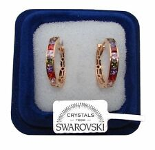 Swc/17 cerchio Orecchini 22mm Pl.oro Bianco 18k cristalli Swarovski Uomo Donna