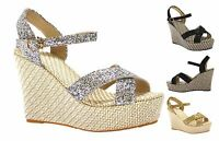 LADIES WOMENS HIGH WEDGE HEEL SUMMER SANDALS GLITTER SHOES SIZE