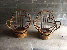 Vintage Wood Cane Swivel Chairs Art Deco