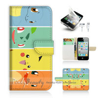 ( For iPhone 4 / 4S ) Wallet Case Cover! Pokemon Pikachu P0022