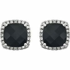 Genuine Onyx Cushion Cut  & .06 ctw Diamonds Halo Studs Earrings 14K. White Gold