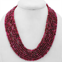 WORLD CLASS AMAZING 547.00 CTS EARTH MINED 7 LINE RED RUBY ROUND BEADS NECKLACE