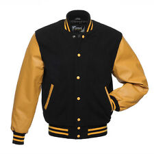Varsity jacket made of wool and real leather Maroon colour Size M
