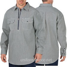 Dickies Logger Shirts Men Long Short Sleeve 1/2 Zip, Button-Front HICKORY STRIPE