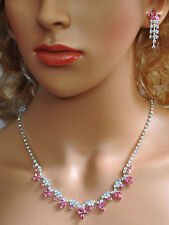 Bridal Crystal Necklace Earrings Set Prom Wedding Pageant Jewelry N1Z77