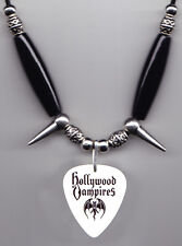 Hollywood Vampires White Guitar Pick Necklace Alice Cooper Johnny Depp Joe Perry