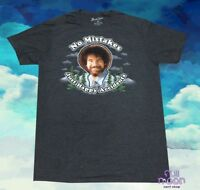 New Bob Ross Mens No Mistakes, Just Happy Accidents Navy Vintage T-Shirt