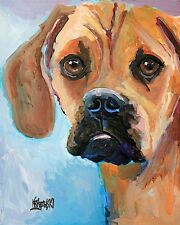 Puggle Dog 11x14 signed art Print Rjk from painting