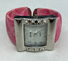E Eccosse Pink Crystal Cuff Ladies Bangle Watch Pink Snake Untested