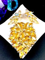 SPARKLING JULIANA D&E CITRINE CRYSTAL AB RHINESTONE BROOCH CLIP EARRINGS SET