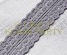 10yard 45mm Fabric Embroidered Lace Bilateral Trim Ribbon Craft Sewing Deep Grey