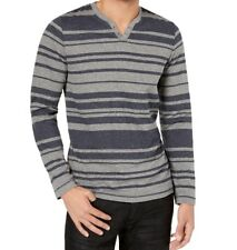 INC NEW Heather Gray Blue Mens Size 3XL Stripe Split Neck Henley Shirt $39 #101