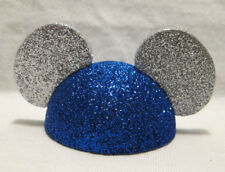 Mickey Mouse Ears Hat Antenna Topper Blue and Silver Glitter Retro Disney Parks