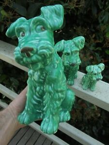 FULL SET OF VINTAGE SYLVAC GREEN TERRIER DOGS