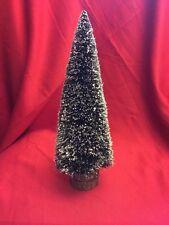 "Dept 56 Snow Village Bristle Christmas Tree 12"" Tall Stk#e Wood Base"